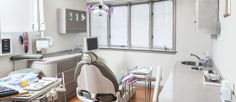 An exam room at Barksdale Dental with tools and equipment.